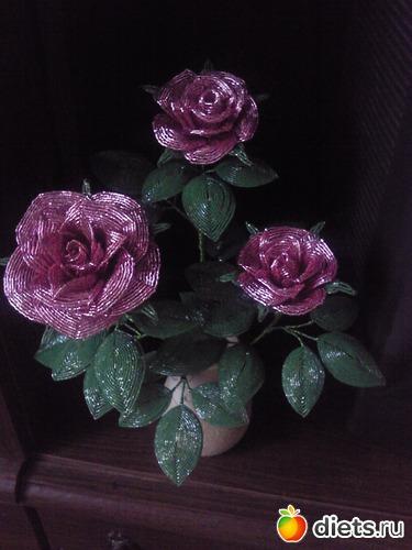 мк роза из бисера с пошаговым фото