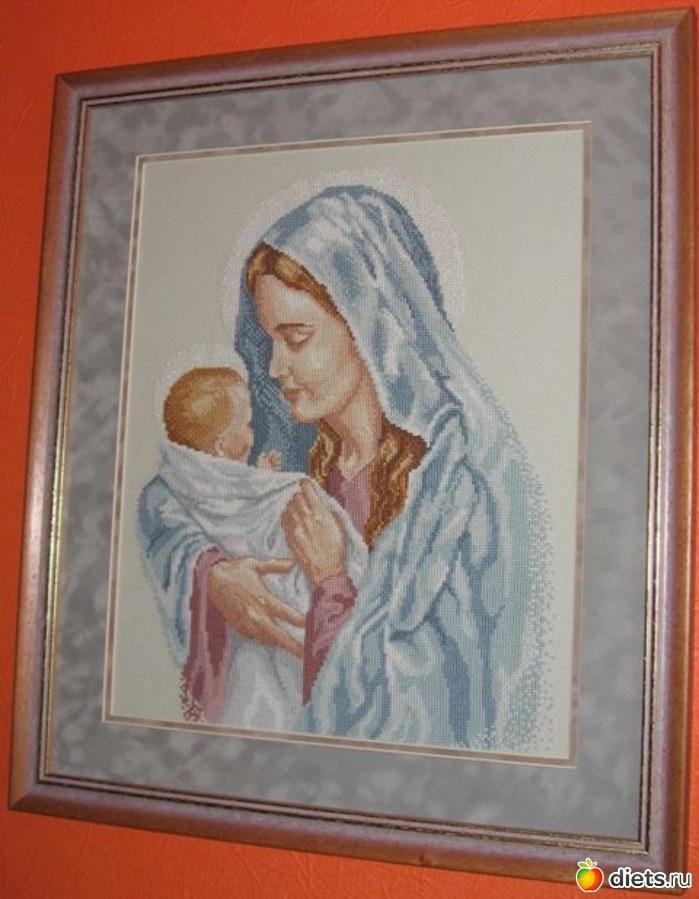 Мадонна с младенцем: Вышивка