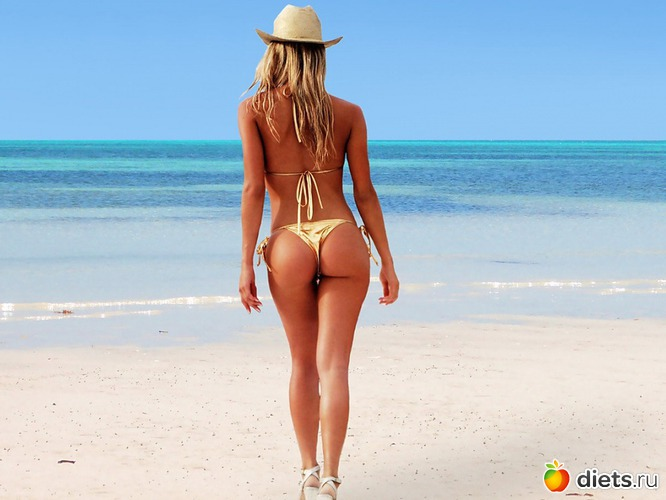 Картинка стринги, каблуки, Пляж, небо, попка, шляпа, море, попа, туфли. стр