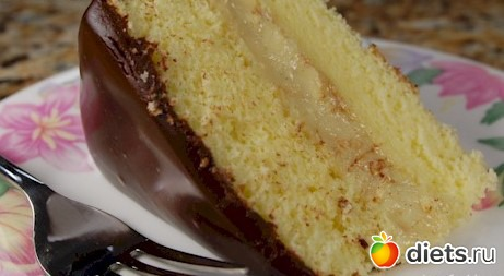 рецепт бисквитного торта с персиками с фото