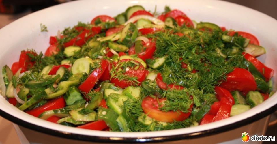 Салат из помидор огурцов перца рецепт